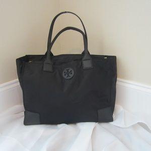 Tory Burch Packable Ella Tote Black Nylon EUC